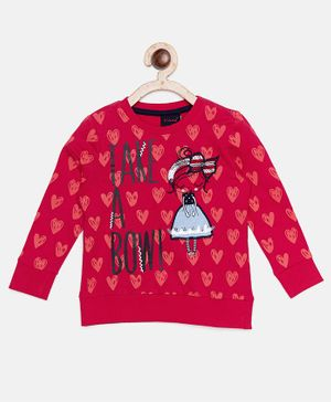 Ziama Full Sleeves Take A Bow Print Tee - Red
