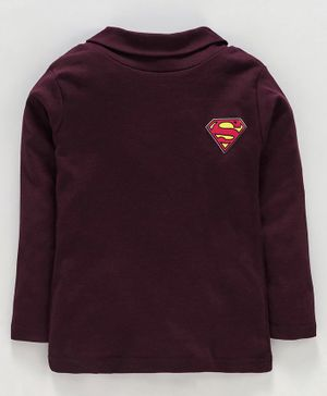 Eteenz Full Sleeves Tee Superman Logo  Print - Maroon