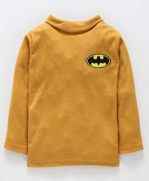 Eteenz Full Sleeves Tee Batman Logo  Print - Mustard Yellow