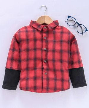 Lekeer Kids Full Sleeves Checked Shirt - Red