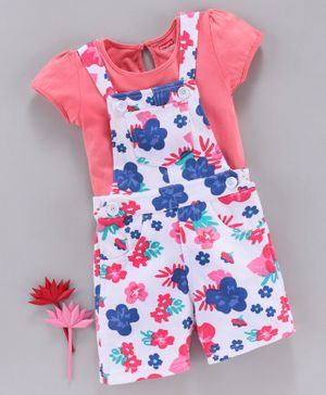 Babyhug Floral Dungaree With Inner Top - Coral White