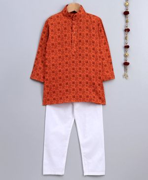 Jeet Ethnics Printed Full Sleeves Kurta & Pajama Set - Orange