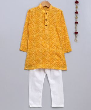 Jeet Ethnics Bandhani Print Full Sleeves Kurta With Pajama - Yellow