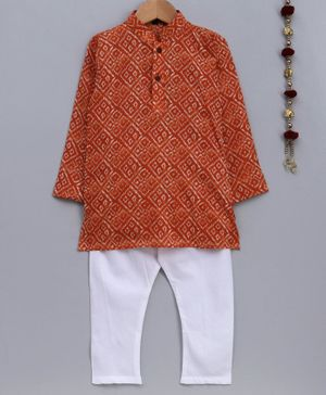 Jeet Ethnics Bandhani Print Full Sleeves Kurta With Pajama - Orange