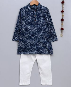 Jeet Ethnics Bandhani Print Full Sleeves Kurta With Pajama - Navy Blue