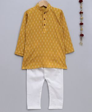 Jeet Ethnics Printed Full Sleeves Kurta & Pajama Set - Yellow