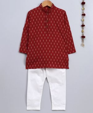 Jeet Ethnics Printed Full Sleeves Kurta & Pajama Set - Red