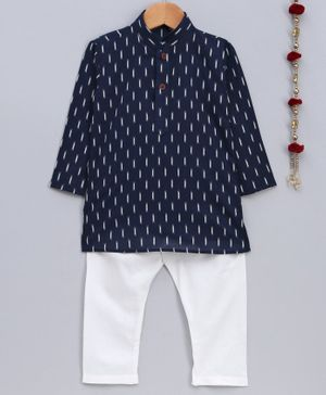 Jeet Ethnics Printed Full Sleeves Kurta & Pajama Set - Navy Blue