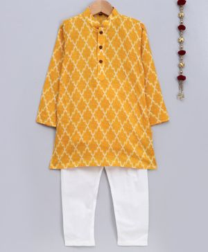 Jeet Ethnics Printed Full Sleeves Kurta With Pyjama - Yellow