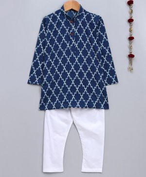 Jeet Ethnics Printed Full Sleeves Kurta With Pyjama - Blue