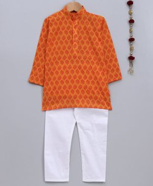 Jeet Ethnics Full Sleeves Motif Print Kurta With Pyjama - Orange & White