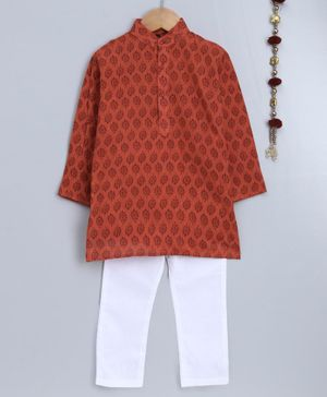 Jeet Ethnics Full Sleeves Motif Print Kurta With Pyjama - Brown & White