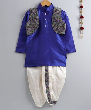 Jeet Ethnics Solid Full Sleeves Kurta With Jacket & Dhoti - Navy Blue