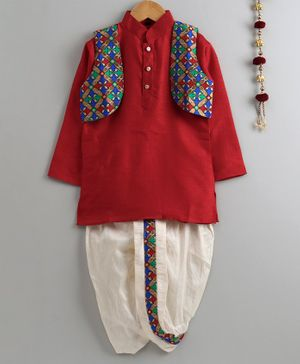 Jeet Ethnics Full Sleeves Kurta With Floral Print Jacket & Dhoti - Maroon