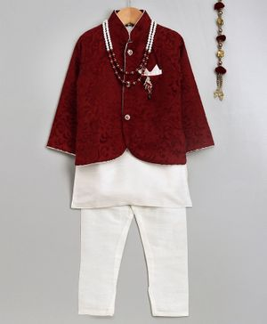 Jeet Ethnics Full Sleeves Kurta With Damask Self Design Jacket Mala & Pajama - Maroon & Beige
