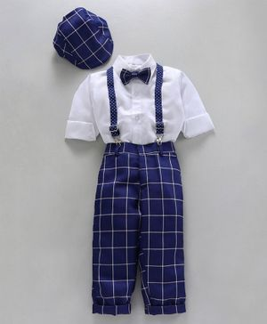 Jeet Ethnics Full Sleeves Shirt With Bow Checked Suspender Pants & Cap - White & Navy Blue