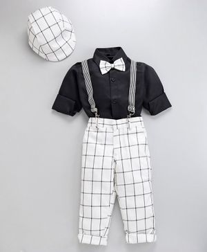 Jeet Ethnics Full Sleeves Shirt With Bow & Checked Suspender Pants With Cap - White & Black