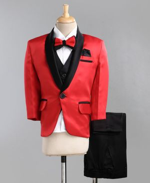 Jeet Ethnics Full Sleeves Solid Four Piece Party Suit With Bow Tie - Red