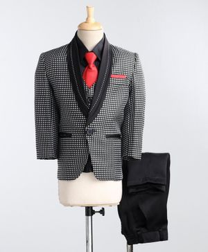 Jeet Ethnics Full Sleeves Checked Pattern Four Piece Party Suit With Tie - Black