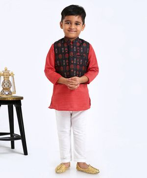 Exclusive From Jaipur Full Sleeves Kurta And Pyjama With Jacket Floral Print - Red White