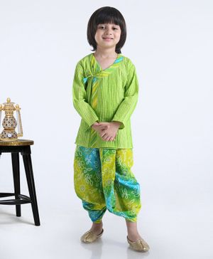 Exclusive From Jaipur Full Sleeves Kurta And Dhoti - Green