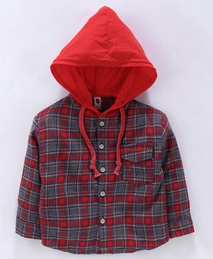 Lekeer Kids Full Sleeves Hooded Tartan Shirt - Red