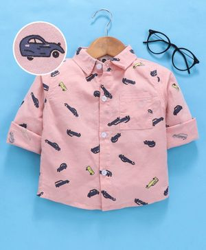 Lekeer Kids Full Sleeves Shirt Cars Print - Pink