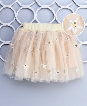 Lekeer Kids Glitter Sequin Stars Embroidered Party Wear Skirt - Peach