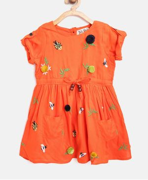 Bella Moda Lady Bug Embroidered Half Sleeves Dress - Orange