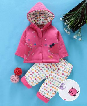 Babyhug Winter Wear Full Sleeves Jacket With Bottom Star Embroidery - Pink
