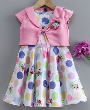 Enfance Polka Dot Print Sleeveless Dress With Shrug - Light Pink