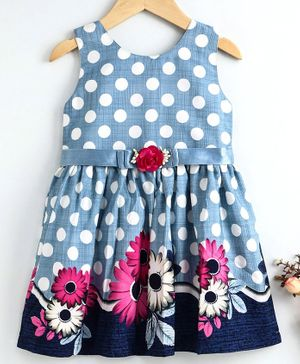 Enfance Sleeveless Polka Dot Print Dress With Floral Lace Shrug - Blue