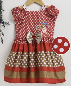 Enfance Cap Sleeves Polka Dot Print Dress - Red