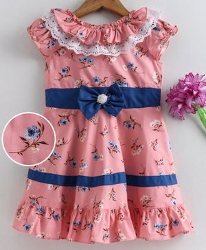Enfance Short Puffed Sleeves Floral Print Dress - Light Pink
