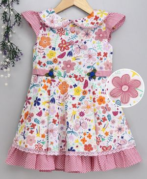Enfance Cap Sleeves Floral Print Dress - Multi Colour