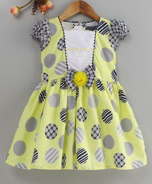 Enfance Cap Sleeves Circle Print Dress - Yellow