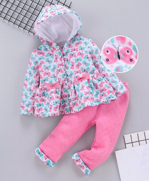 Babyhug Winter Wear Full Sleeves Hooded Tee And Lounge Pant Butterfly Print - White Pink