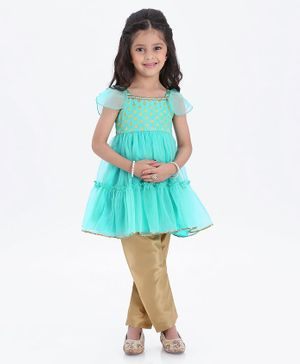 Babyhug Cap Sleeves Kurta & Salwar Golden Leaves Design - Sky Blue Golden