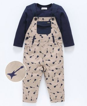 Babyoye Cotton Dungaree Romper With Full Sleeves Tee Guitar Print - Light Be