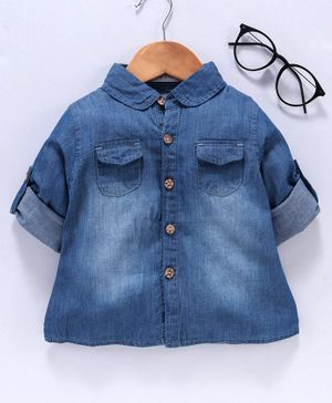 Reiki Trees Full Sleeves Denim Shirt  - Light Blue