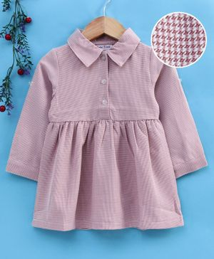 Reiki Trees Full Sleeves Frock Checked - Pink