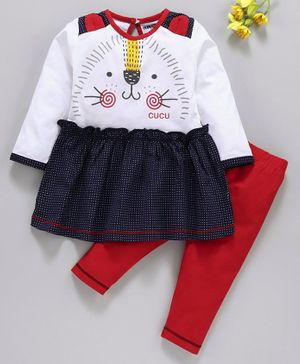 Cucumber Full Sleeves Frock With Leggings Kitty Print - White Red Navy Blue
