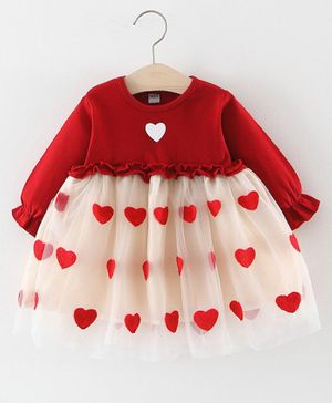 Pre Order - Awabox Full Sleeves Heart Patch Tulle Flare Dress - Red