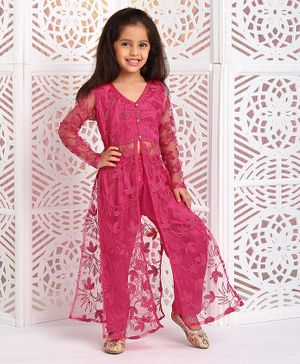 M'andy Leaves Embroidered Full Sleeves Kurta With Pants - Dark Pink