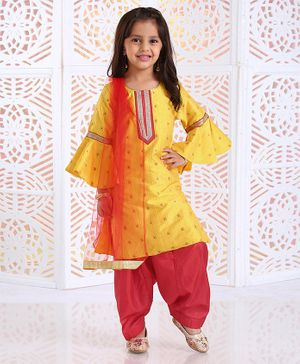 Saka Designs Frilled Sleeves Embroidered Kurta With Salwar - Yellow