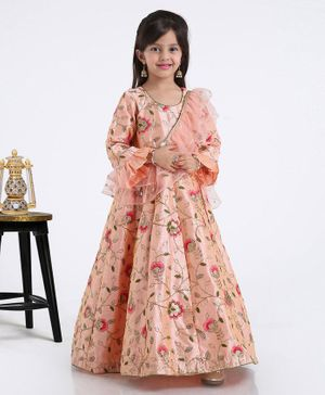 Saka Designs Three Fourth Sleeves Gown With Attached Drape Dupatta - Peach