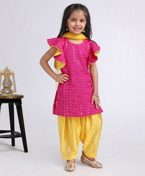 Saka Designs Flutter Sleeves Embellished Kurta With Salwar & Dupatta - Pink Yellow