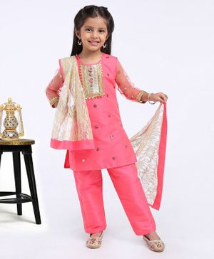 Saka Designs Full Sleeves Kurti And Salwar With Dupatta Floral Embellished - Peach