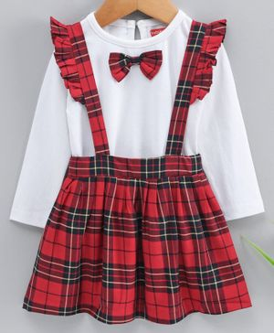Babyhug Full Sleeves Top With Skirt Checked Bow Applique - White Red
