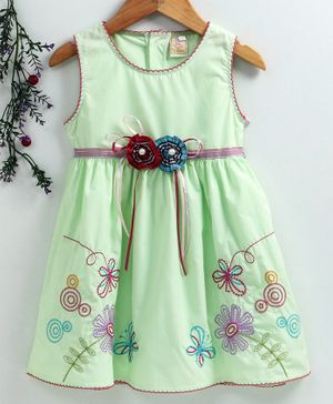 Smile Rabbit Sleeveless Frock Floral Embroidery - Light Green